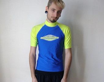 CYBER TEE -wetsuit, swimwear, surf, neon, blue, fluor, yellow, tshirt, oceanpacific, party, seapunk, club kid, rave, festival-