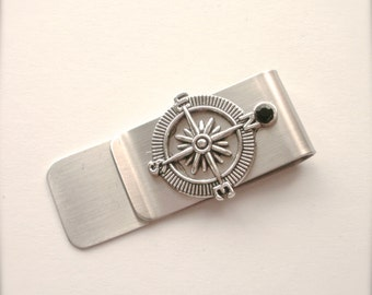 True North Compass Money Clip, Stainless Steel Money Clip, Stainless Steel Money Clip, Gift for Groomsman, Best Man, Graduate, Father's Day