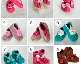 Crochet baby shoes Baby Girl Booties, Baby Girl Slippers, 9 – 12 months - 12 cm / 5 inches Ready To Ship, Baby Shower Gift Custom Made