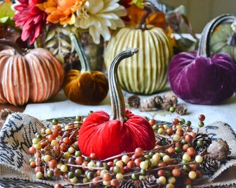 1 Small Candy Apple Red Velvet Pumpkin, Fall Decor, Table Centerpiece, Homemade Rustic Decoration