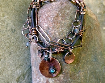 Artisan Jewelry - Primal Knowing - Handmade Eco Friendly Copper Blue Labradorite Leather Bracelet