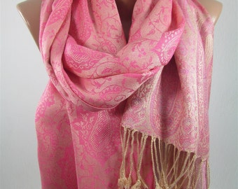Pashmina Scarf Women Pink Scarf Shawl Girlfriend Gift Women Fashion Accessories Pink Wedding Scarf Bridesmaids Gifts Valentines Gift For Her