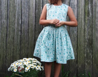 Girls Handmade 'Lamees' Open Back Vintage Look Dress Floral Lace Detail - Made to order