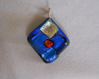 Dichroic Glass Pendant, Fused Glass Pendant, Jewelry Supplies, Blue Glass Pendant