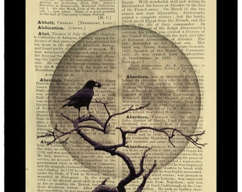 Crow and Moon Raven Gothic Night - Dictionary Print Book Page Art
