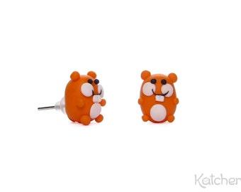 "Kawaii Earrings ""Hamster"" in Orange and White"
