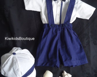 Baby sailor outfit,baby boy navy shorts,bow tie,ring bearer outfit,baby onesie,christening suit,boys suspender,boys bow tie,boy shorts,