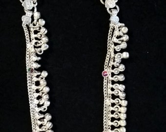 Pure Silver Anklets with Meenakari Work for New Born Babies