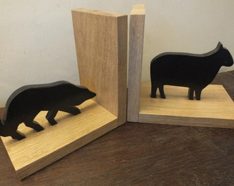 A Hand Made Pair Of Sheep & Sheep Dog (Border Collie) Oak Bookends