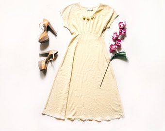 Yellow Evening Dress, Yellow Vintage Dress, Empire Waist Dress, Vintage Maxi Dress, Yellow Maxi Dress, Yellow Evening Gown, Small Dress