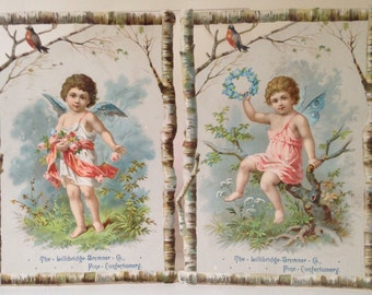 2 Antique Die Cut and Embossed Fairy Trade Cards