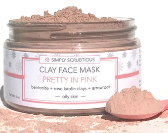 PRETTY IN PINK Clay Face Mask-Dry Face Mask-Face Cleanser-Rose Clay Mask-Natural Face Mask- 2 oz.