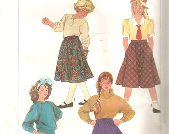 VINTAGE Simplicity Sewing Pattern 7243 - Children's Clothes - Girl's Skirts, Size 10