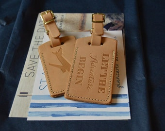 Leather luggage tag Wedding Favors escort bride by PorterLeather