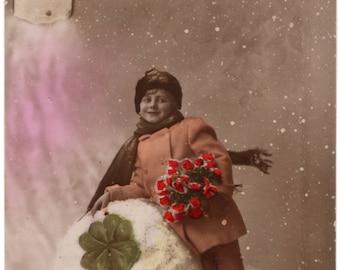 """Belgian vintage postcard """"Bonne Année"""""""", ± 1900"""