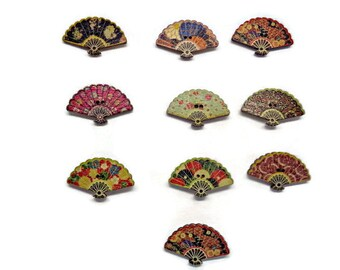 6 Fan shaped buttons, oriental buttons, multi colour fans, sewing buttons, sewing supplies, wooden fan buttons, japanese buttons