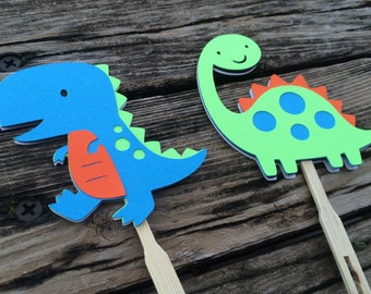 Dinosaur Cupcake Toppers - Dinosaur Party, Baby Shower, Birthday Party, First Birthday