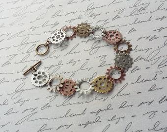 Steampunk Gear Bracelet, Cogs and Gears, Steampunk Jewelry, Cog Bracelet, Bronze Bracelet, Steampunk Bracelet, Cog Jewelry, Handmade Jewelry