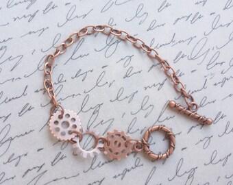 Steampunk Gear Bracelet, Cogs and Gears, Steampunk Jewelry, Copper Bracelet, Steampunk Bracelet, Gear Bracelet, Handmade Jewelry