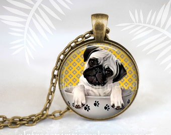 Pug Puppy Necklace, Cute, Puppy Necklace, Pug puppy in Cup, Dogs, pedigree dogs, Puppy, Cute, Gift for Teen, Pug gift,
