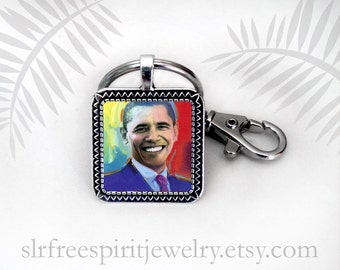 Obama Key Chain, Peter Max Painting Pendant, Barack Obama Gift, President Obama Keyring, Gift for Democrat, Gift for Woman or Men