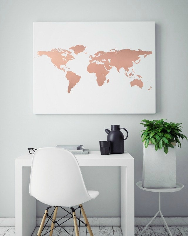 Rose gold foil world map print real foil by shabbyshackstudio for Living room ideas rose gold