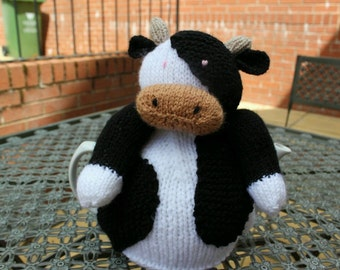 Hand Knitted Cow Tea Cosy,  4-6 cup size tea pot