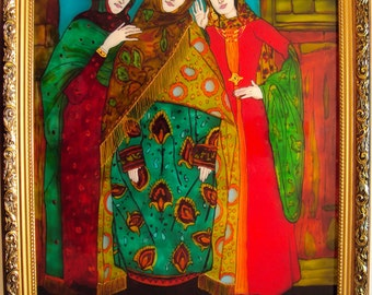 Stained glass painting Girls
