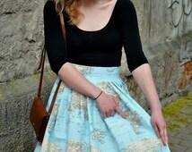 Custom Skirt Travel The World Vintage Inspired