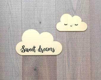 Cloud wall decor, nursery wall decor, sweet dreams nursery decor, kids room decor in gold mirror