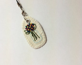 Jar of Flower Bouquet  Keychain or Phone Charm