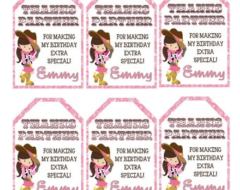 COWGIRL Birthday Party Thank You Tags