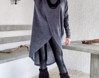 Gray Winter Warm Knitted Asymmetric Blouse / Gray Winter Warm Tunic / Asymmetric Blouse / Oversize Loose Blouse / #35142