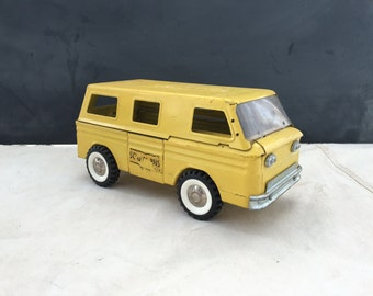 Structo School Bus 1960s - Vintage Metal Toy Truck - Pressed Metal Vehicle - Schoolhouse Decor - Collectible Toy - Child Truck - Bus