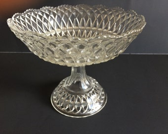 Diamond and Cross Hatch Cut Pattern Pressed Glass Compote Pedestal Bowl
