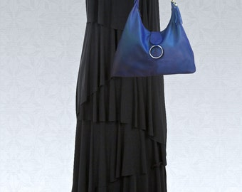 Womens Large Italian blue Hobo, Monaco blue bag, Blue leather hobo, soft leather bag, premium leather bag, Womens bag, Ladies blue hobo bag