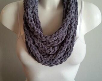 Velvet scarf, necklace scarf, loop scarf, crochet scarf