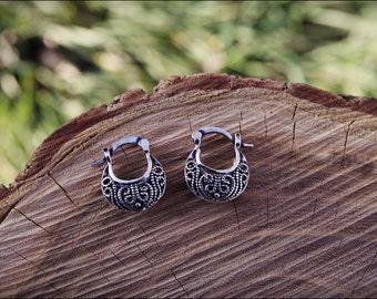 Small Silver earrings. Tribal earrings ethnic style. Boho earrings. Tribal jewelry.