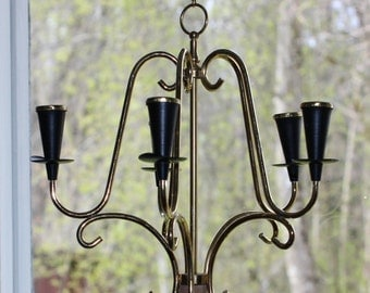 Beautiful vintage retro 60s Chandelier with place for 5 little candles. Made in Scandinavia.