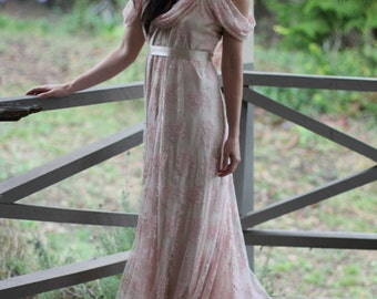 Dusty Pink Lace Romantic Wedding Gown Cowl neck