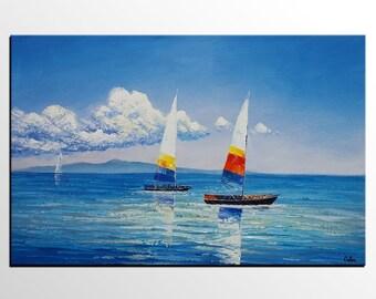 Original Art, Oil Painting, Sailing Boat Painting, Large Canvas Art, Large Art, Canvas Painting, Abstract Art, Wall Art, Abstract Painting