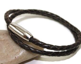 Wrap leather bracelet - braided bracelet - mens leather bracelet - brown leather bracelet - double strand bracelet - magnetic clasp