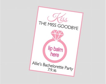 Kiss the Miss Goodbye Lip Balm Card. Great for lip balms Bachelorette, Bridal Shower, Engagement Party Favors.  Digital file
