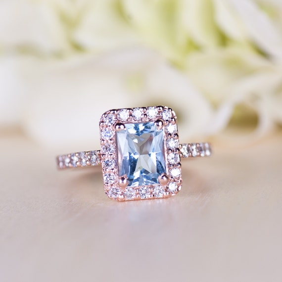 aquamarine wedding rings aquamarine gold engagement ring halo ring 1358