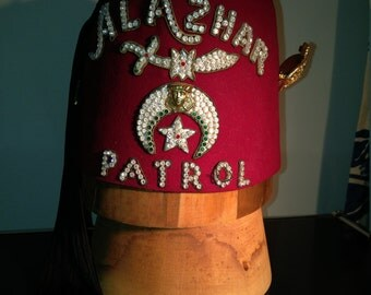 Shriners Fez Hat and vintage Hat Block