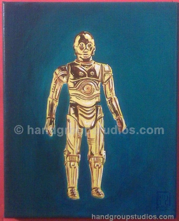 "Star Wars C-3PO Droid Toy Figure Painting ""Made to Suffer"" Original Artwork by Pete Coe"