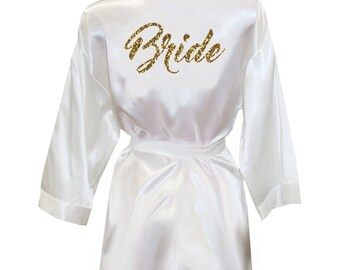 Brush Script Bride Glitter Print Satin Robe | Bride Robe