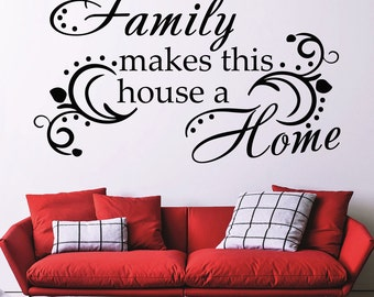 Wall Decal Quote Family Makes This House A Home Art Murals Interior Design Vinyl Sticker