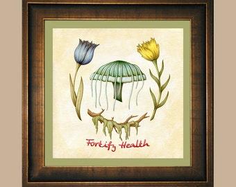 Fortify Health - Skyrim Glowing Mushroom, Blue & Yellow Mountain Flower, Hanging Moss Watercolor Print - Botanical Elder Scrolls Video Game