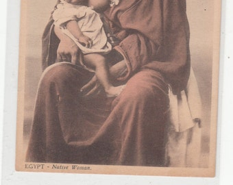 Native Woman From Egypt Breastfeeding Child Antique Postcard